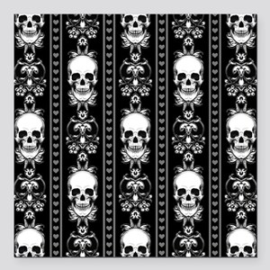 "Baroque Skull Stripe Pat Square Car Magnet 3"" x 3"""