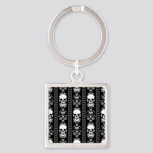 Baroque Skull Stripe Pattern Black Square Keychain