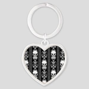 Baroque Skull Stripe Pattern Black Heart Keychain
