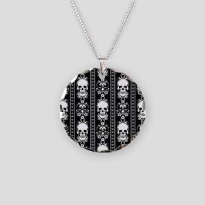 Baroque Skull Stripe Pattern Necklace Circle Charm