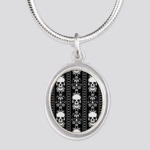 Baroque Skull Stripe Pattern Silver Oval Necklace