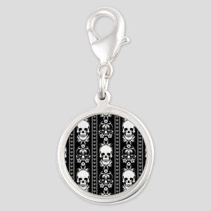 Baroque Skull Stripe Pattern B Silver Round Charm