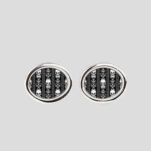 Baroque Skull Stripe Pattern Black Oval Cufflinks