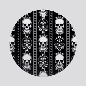 Baroque Skull Stripe Pattern Black Round Ornament