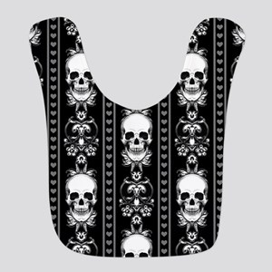 Baroque Skull Stripe Pattern Black Bib