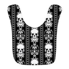 Baroque Skull Stripe Pattern Black Bib