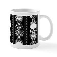 Baroque Skull Stripe Pattern Black Mug