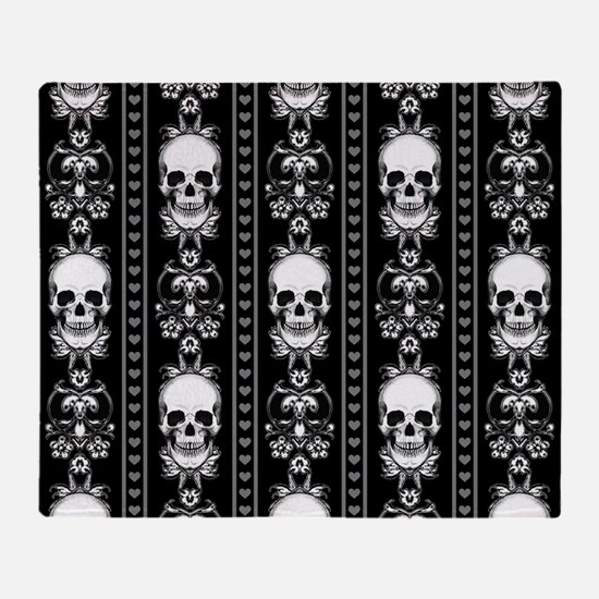 Baroque Skull Stripe Pattern Black Throw Blanket