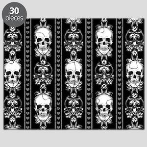 Baroque Skull Stripe Pattern Black Puzzle