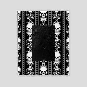 Baroque Skull Stripe Pattern Black Picture Frame