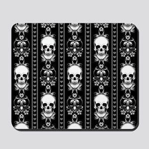 Baroque Skull Stripe Pattern Black Mousepad