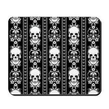 Baroque Skull Stripe Pattern Black Mousepad