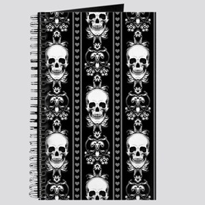 Baroque Skull Stripe Pattern Black Journal