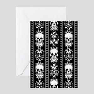 Baroque Skull Stripe Pattern Black Greeting Card