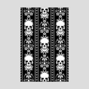 Baroque Skull Stripe Pattern Bla Mini Poster Print