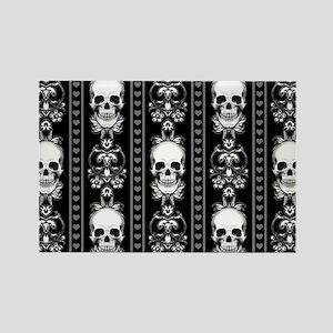Baroque Skull Stripe Pattern Blac Rectangle Magnet