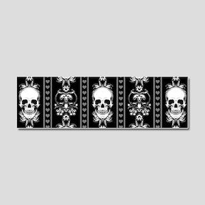 Baroque Skull Stripe Pattern Bla Car Magnet 10 x 3