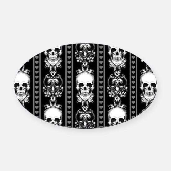 Baroque Skull Stripe Pattern Black Oval Car Magnet