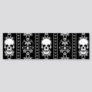 Baroque Skull Stripe Pattern Blac Sticker (Bumper)