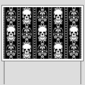 Baroque Skull Stripe Pattern Black Yard Sign