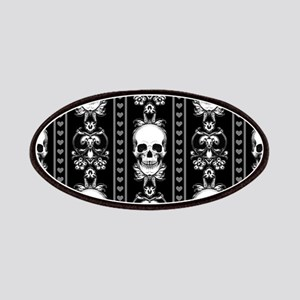 Baroque Skull Stripe Pattern Black Patch