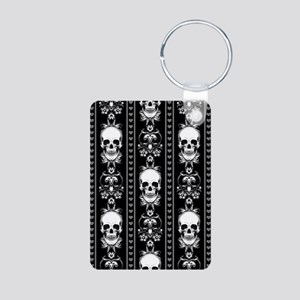 Baroque Skull Stripe Patte Aluminum Photo Keychain