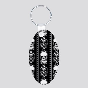 Baroque Skull Stripe Patter Aluminum Oval Keychain