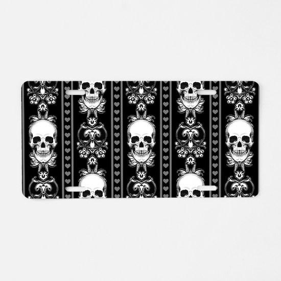 Baroque Skull Stripe Patter Aluminum License Plate