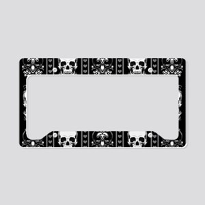 Baroque Skull Stripe Pattern License Plate Holder