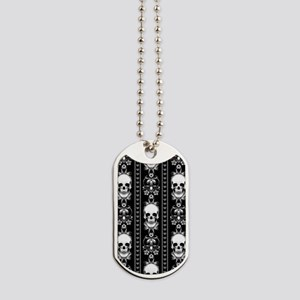 Baroque Skull Stripe Pattern Black Dog Tags