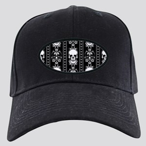 Baroque Skull Stripe Pattern Black Black Cap