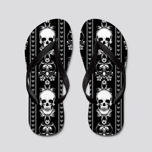 8baef33081c6cc Baroque Skull Stripe Pattern Black Flip Flops