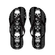 Baroque Skull Stripe Pattern Black Flip Flops