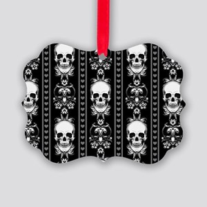 Baroque Skull Stripe Pattern Blac Picture Ornament