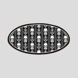 Baroque Skull Stripe Pattern Black Patch