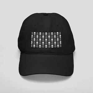 Baroque Skull Stripe Pattern Black Black Cap