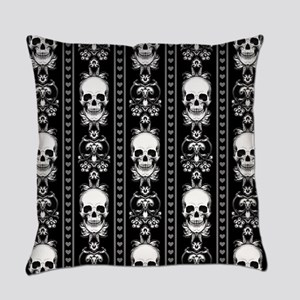 Baroque Skull Stripe Pattern Black Everyday Pillow