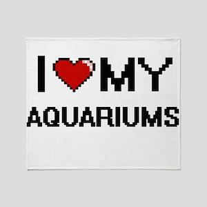 I Love My Aquariums Digital Retro De Throw Blanket