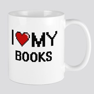 I Love My Books Digital Retro Design Mugs