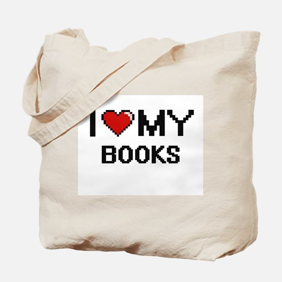 I Love My Books Digital Retro Design Tote Bag