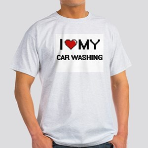 I Love My Car Washing Digital Retro Design T-Shirt