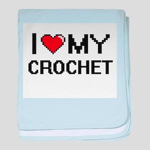 I Love My Crochet Digital Retro Desig baby blanket