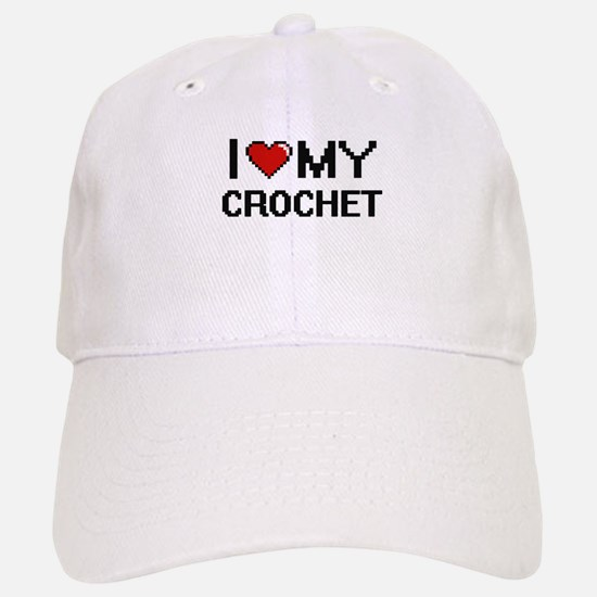 I Love My Crochet Digital Retro Design Baseball Baseball Cap