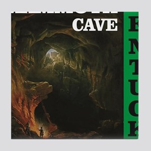green mammoth cave art Tile Coaster