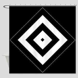 Black Silver Diamond Pattern Shower Curtain