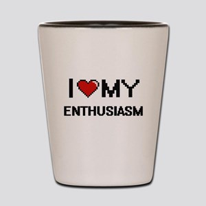 I Love My Enthusiasm Digital Retro Desi Shot Glass