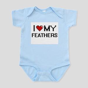 I Love My Feathers Digital Retro Design Body Suit