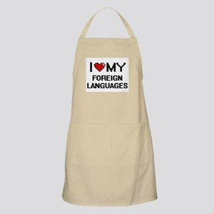 I Love My Foreign Languages Digital Retro De Apron