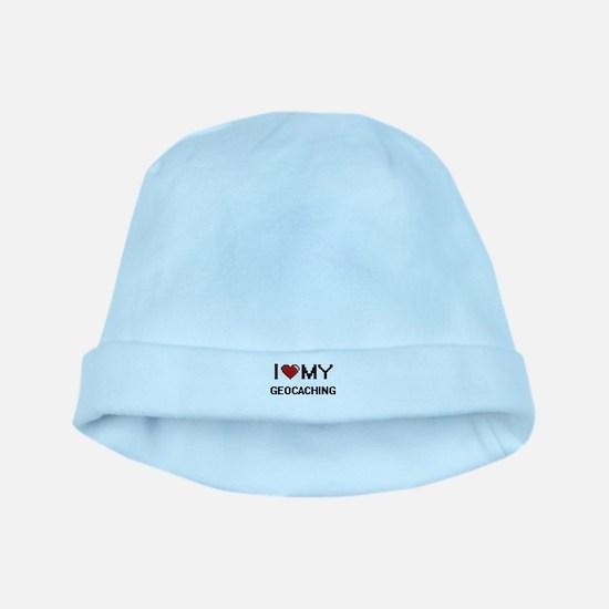 I Love My Geocaching Digital Retro Design baby hat