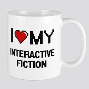 I Love My Interactive Fiction Digital Retro D Mugs